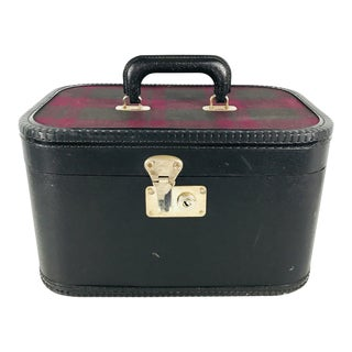 Vintage Train Case Tartan Plaid Luggage Suitcase 1950s For Sale