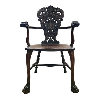 Antique Decorative Renaissance Revival Oak Chair