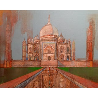Taj Mahal Watercolor & Acrylic Painting For Sale