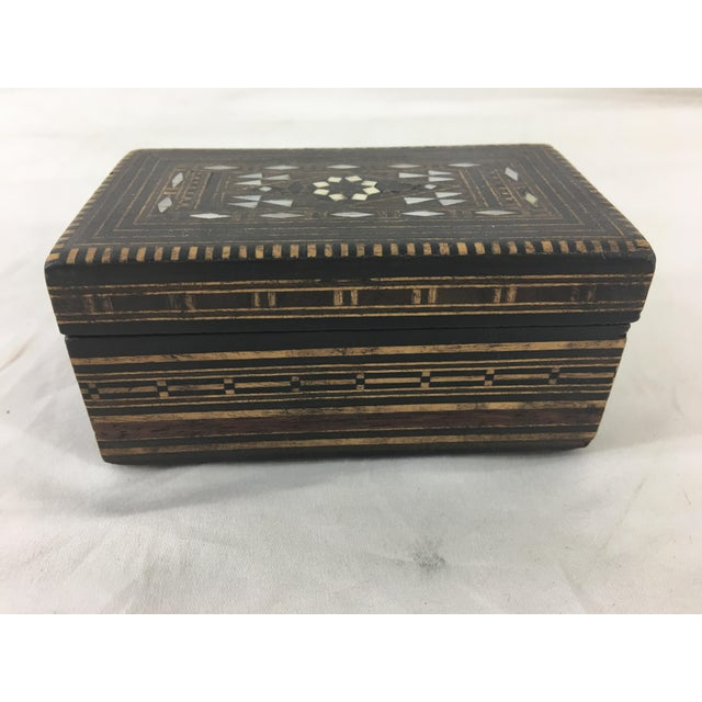 Moroccan Wood and Mother of Pearl Inlay Box For Sale - Image 4 of 8