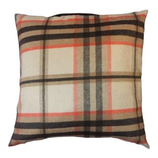 Burberry Inspired-Woodland Wool Plaid Pillow For Sale
