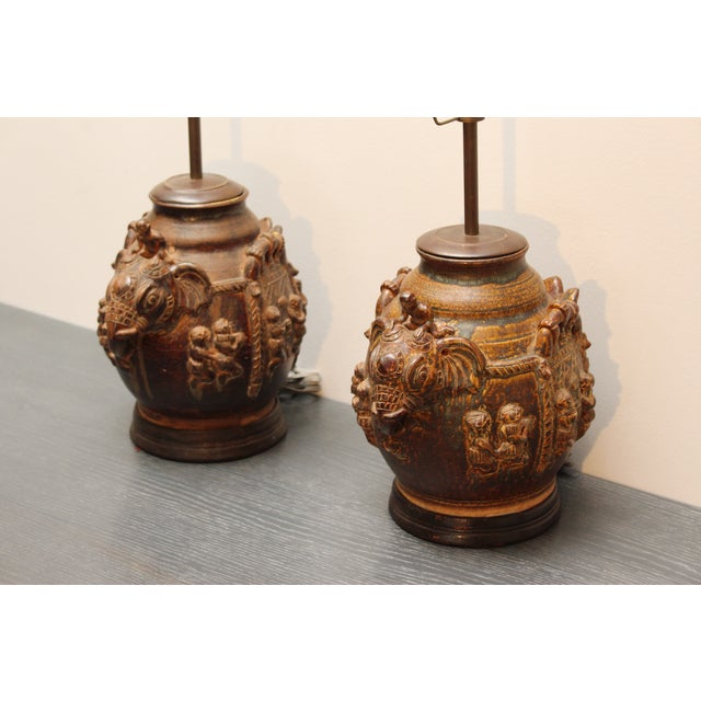 Figurative East Indian Elephant Lamps- A Pair For Sale - Image 3 of 11
