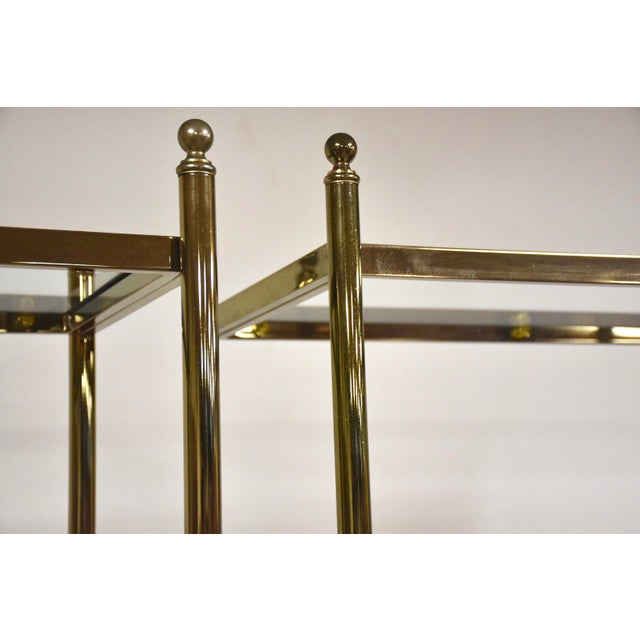 1970s Hollywood Regency Style Brass Etageres- a Pair For Sale - Image 5 of 11