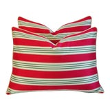 """Image of 24"""" X 18"""" Custom French Stripe Ticking & Velvet Feather/Down Pillows - Pair For Sale"""