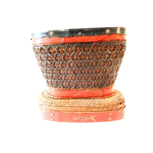 Antique Red & Brown Chinese Wedding Basket For Sale - Image 5 of 7