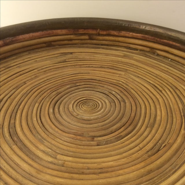 Rattan Brass-Edged Serving Trays - A Pair - Image 9 of 10