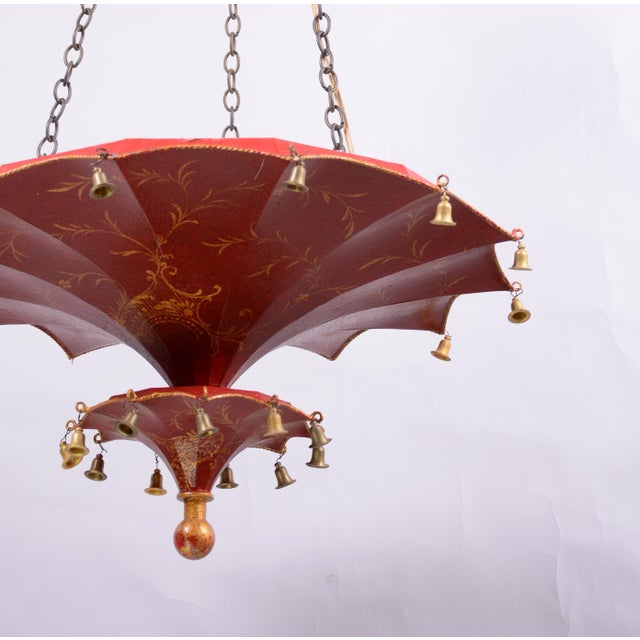 1980s Vintage Two Tiers Upside Down Umbrella Ceiling Chandelier With Bells, Red/Gold in Arabasic Design For Sale - Image 5 of 10