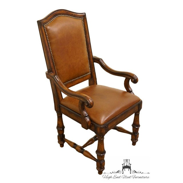 """Hooker Furniture Wynterhall Collection Leather Dining Arm Chair W. Nail Head Trim 342-75-300 43.5"""" High 24"""" Wide 26.5""""..."""