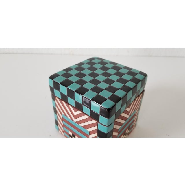 Green Postmodern Artistic Stacking Decorative Ceramic Boxes - Set of 4 For Sale - Image 8 of 9