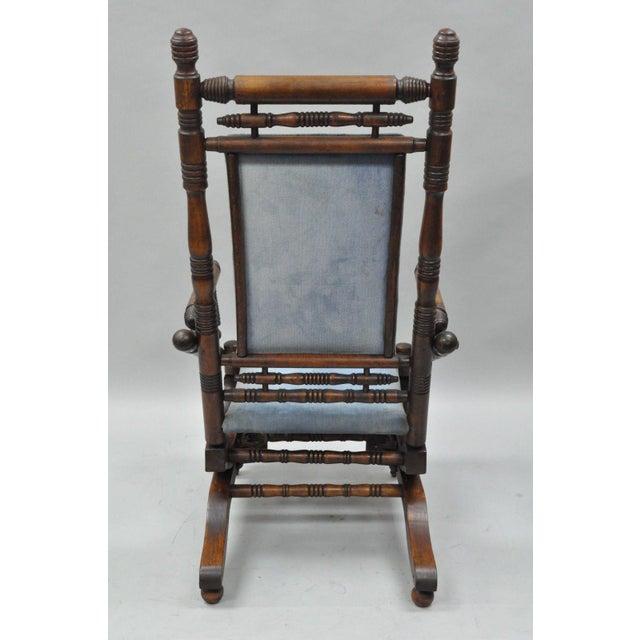 Blue Antique Eastlake Victorian Turned Walnut Blue Platform Rocking Chair For Sale - Image 8 of 11