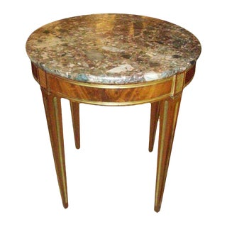 Brass Inlaid Marble-Top Table in the Neoclassic Manner For Sale