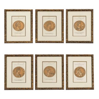 19th Century Set of Six Prints of Roman Emperors in Brush Gold Custom Frame For Sale