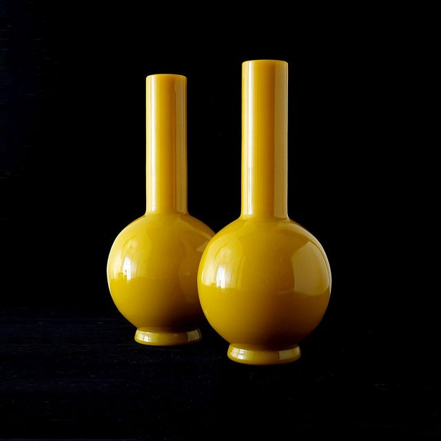 Early 20th Century Early 20th Century Early Peking Glass Imperial Yellow Vase For Sale - Image 5 of 7