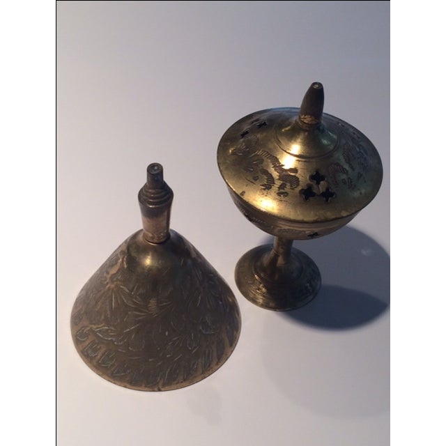 Vintage Indian Brass Incense Burner & Bell Set - Image 2 of 8