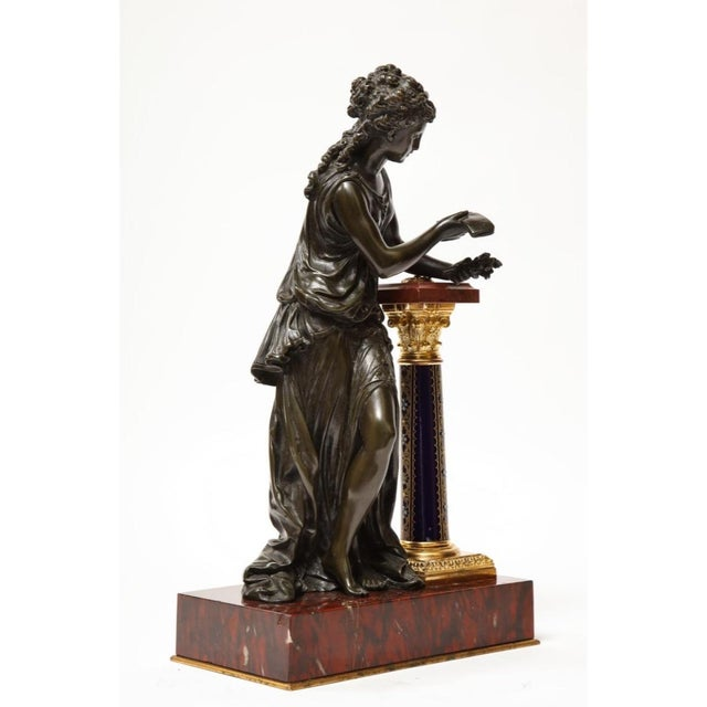 Metal Exquisite French Bronze, Rouge Marble, and Sèvres Style Porcelain Sculpture For Sale - Image 7 of 13