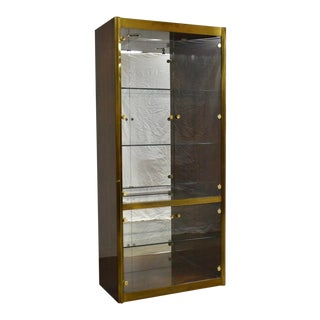 Mastercraft Zebrano Brass Display Cabinet For Sale