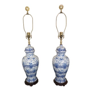 Vintage Chinese Porcelain Blue & White Urn Table Lamps - a Pair For Sale