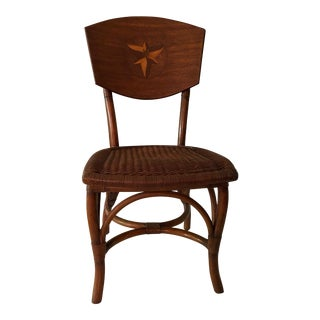 1990s Vintage Lilly Wood Rattan Chair For Sale