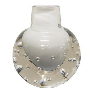 Circa 1970 Italian Mid Century Modern Murano Sommerso Bullicante Glass Bottle Vase For Sale