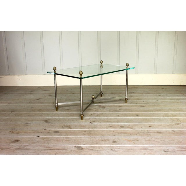 Brass Vintage Brass Brushed Nickel X Base Coffee Table For Sale - Image 7 of 7