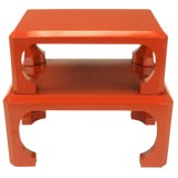 Image of Bert England for Baker Cinnabar Red Asian Modern Stacking Tables - a Pair For Sale