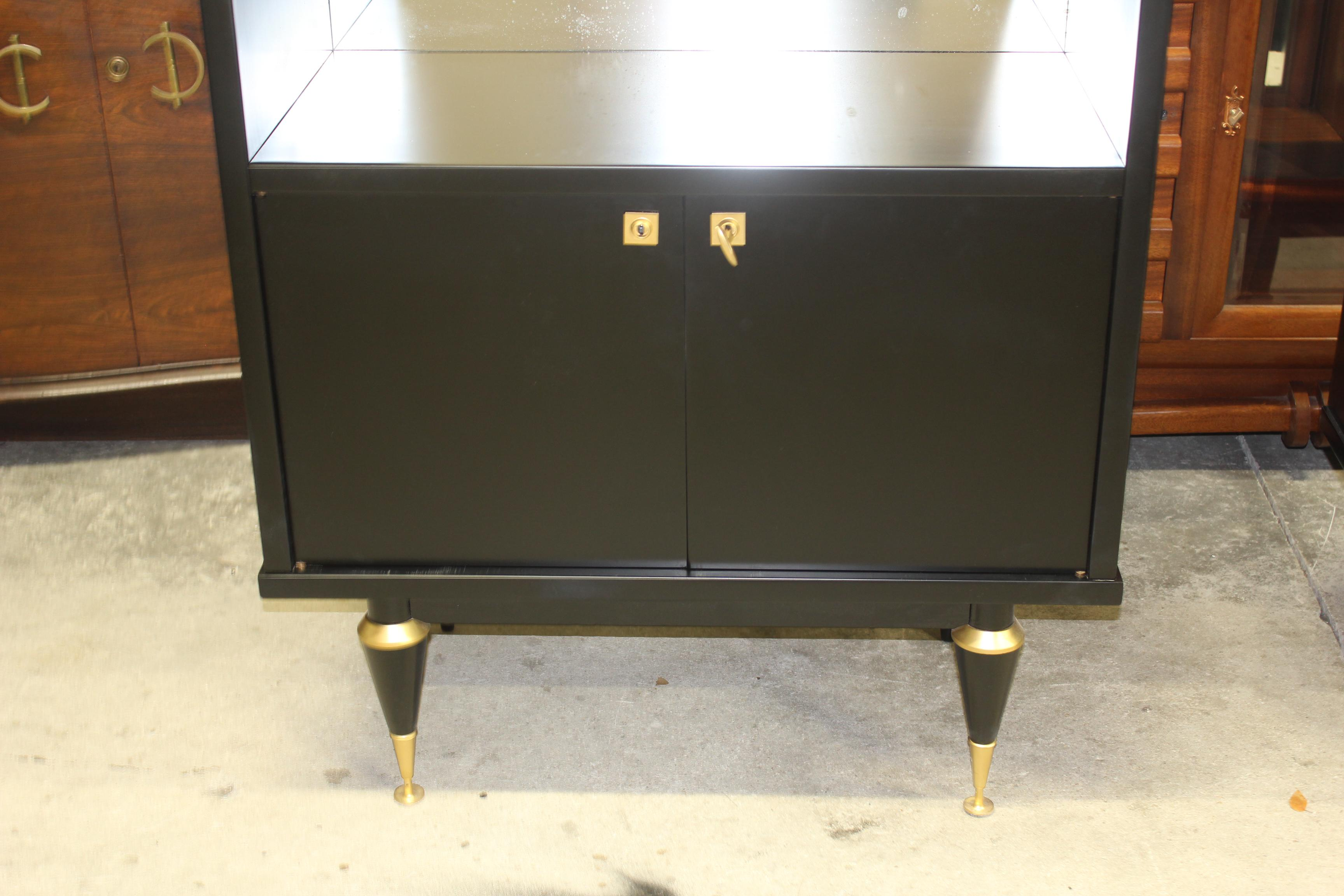 Monumental French Art Deco Ebonized Dry Bar Cabinet 1940u0027s   Image 11 Of 13