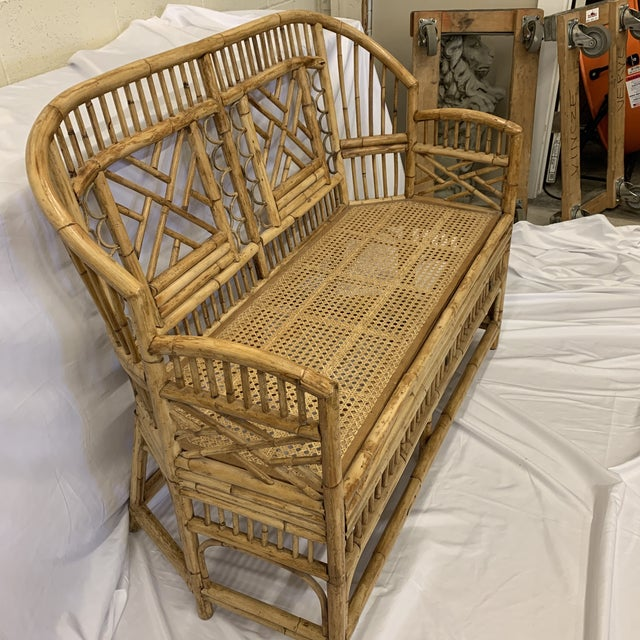 Asian Chinese Chippendale Brighton Style Bamboo Bench For Sale - Image 3 of 12