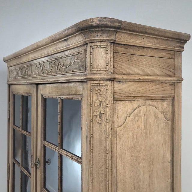 Wood 19th Century Country French Stripped Louis XVI Vitrine - Cabinet For Sale - Image 7 of 13