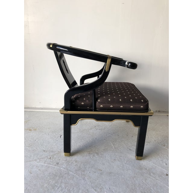 "Asian Style Black Lacquer ""Hickory"" Arm Chair For Sale - Image 9 of 12"