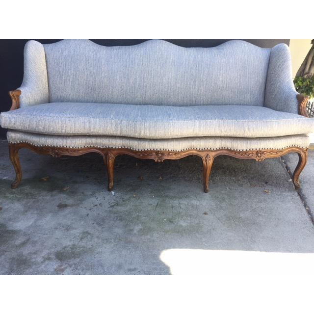 Blue 18th Century French Walnut Camel Back Sofa For Sale - Image 8 of 13