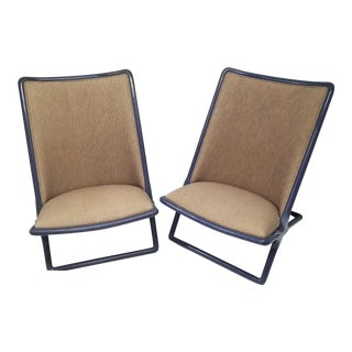 1980s Vintage Ward Bennett for Brickel Associates Scissor Chairs- A Pair For Sale