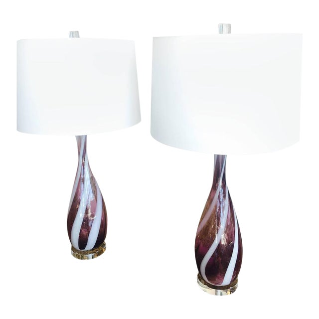 Vintage Murano Glass Italian Table Lamps, 1950s - A Pair For Sale