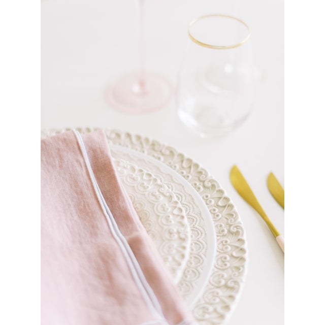 Modern Rosewater with White Trim Linen Napkin - Set of 6 For Sale - Image 3 of 5