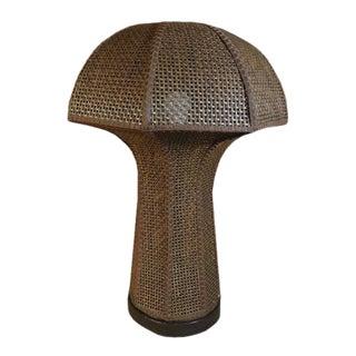 1960s Mid-Century Modern Mushroom Woven Rattan Oversized Desk Lamp