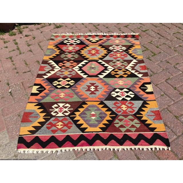 Colorful Vintage Turkish Kilim Rug For Sale - Image 10 of 10