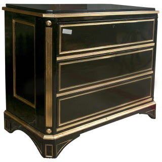 Russian Neoclassical Style Ebonized Commode / Chest of Drawers / Cabinet 19th C. For Sale
