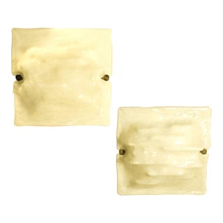 mid-century modern signed Venini milk Murano glass wall sconces - a pair For Sale