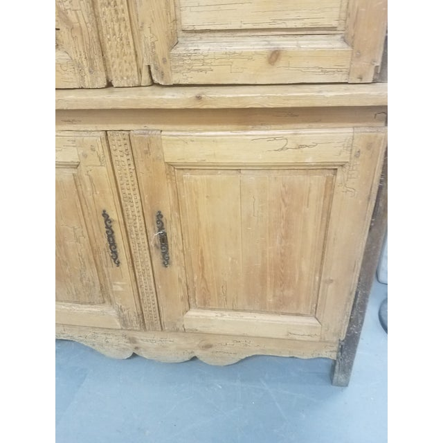 Wood Primitive Antique Pine Cupboard - Made in France For Sale - Image 7 of 13