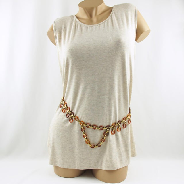 So cool, Yves Saint Laurent Paris signed necklace / belt. Versatile use of this lovely extra long chain composed with...