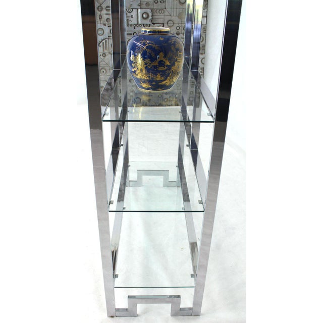 Large Chrome and Glass Greek Key Étagère Baughman For Sale In New York - Image 6 of 7