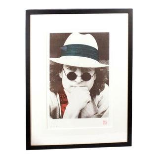 Contemporary John Lennon Portrait Silk Serigraph Print by Nishi Saimaru For Sale