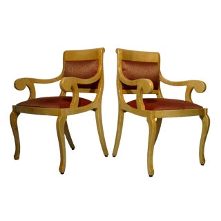 Burlwood Goatskin Armchairs - Set of 2 For Sale