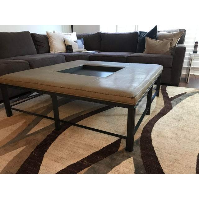 Transitional Transitional Baker Fabric and Steel Square Coffee Table For Sale - Image 3 of 8