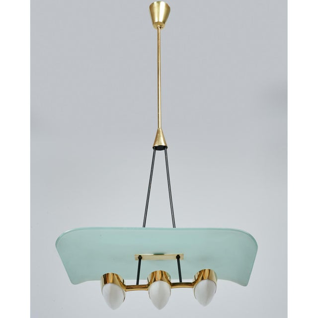 Gold Angelo Lelii for Arredoluce Glass, Brass and Perspex Pendant Chandeliers, Italy 1950's - a Pair For Sale - Image 8 of 10