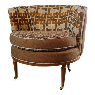 Vintage Mid Century Barrel Chair For Sale