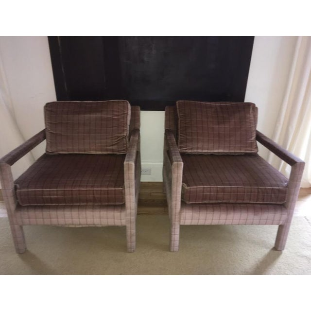 1970s Vintage Parsons Style Arm Chairs- A Pair For Sale - Image 11 of 13