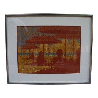 1970s Allen McCurdy Beach Scene Framed Oil on Canvas Painting For Sale