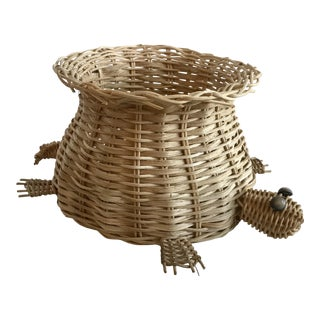 Vintage Wicker Turtle Planter Basket For Sale