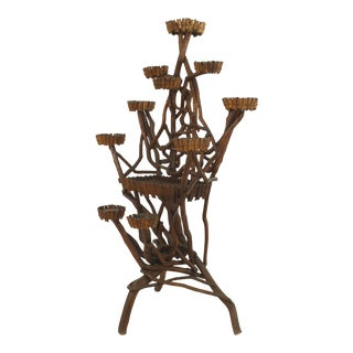 19th Century Rustic Continental Natural Twig Form 10 Arm Plant Stand For Sale