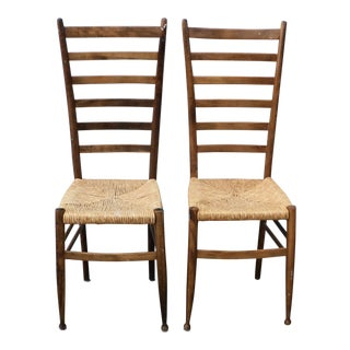 Italian Mid-Century Modern High Back Wooden Cane Seat Chairs - a Pair